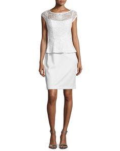 SUE WONG LACE PEPLUM SHEATH COCKTAIL DRESS. #suewong #cloth #