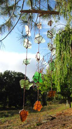 MultiColor Sea Glass and Driftwood Windchime por JenniferSonjaArt