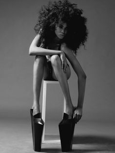 High Heels nd Natrual Afro Curly Hair Styles, Natural Hair Styles, Natural Beauty, Au Natural, Monochrom, Curly Girl, Afro Hairstyles, Big Hair, Black Is Beautiful