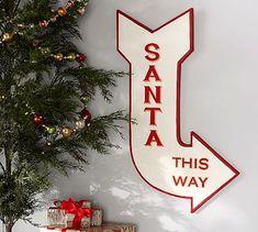 Santa This Way Sign Wall Art