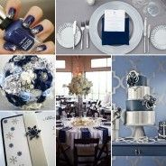 Navy and silver wedding ideas board