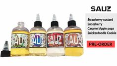 Sauz sauz sauz   The greatest bang for you buck is coming out with 4 new flavours!!!  That right guys get ready for 4 awesome new flavours to one of the greatest juice lines on the market.   First: Strawberry Custard  Second: Snozzberry  Third: Carmel Apple Popz Forth: Snickerdoodle Cookie   Get your preorders in now because the price will be knocked down to 25.99$ for anyone who puts in their order before it arrives in store. Once it arrives the price goes back to 30.99$   Vape29 Inc