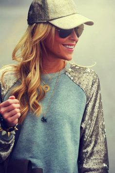 Love this  Baseball Sleeves Round Neck Blouse With Ray Bans