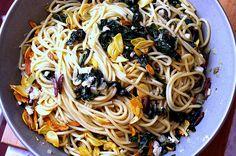 Spaghetti with swiss chard, garlic chips, and kalamata olives