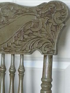 Close-up of Cinde's Chateau Grey chair.