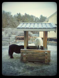 Horse feeder in lafteteknikk, for slowfeeding hay net. Lafting. Laft.