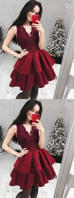 Prom Dresses Split, A-Line V-Neck Tiered Dark Red Homecoming Dress with Lace, whether you want a little sequin detail on a short prom dress or an allover sequin design on your long prom gown, sequins ensure you will sparkle and shine all night. Cheap Homecoming Dresses, Hoco Dresses, Cute Dresses, Evening Dresses, Formal Dresses, School Dresses, Dress Prom, Dresses Elegant, Unique Prom Dresses