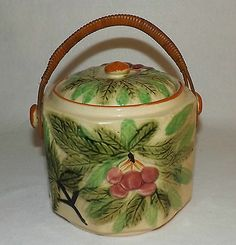 Vintage Cookie Jar With Cherries And Wooden Handle Made In Japan Kitchen & Home Cookie Jars