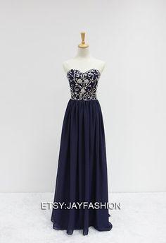 Long prom dress/ Chiffon evening Dress/ Beaded Cheap door jayfashion