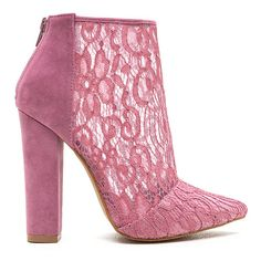 Romantic Summons Chunky Lace Booties ($34) ❤ liked on Polyvore featuring shoes, boots, ankle booties, ankle boots, pink, lace-up booties, chunky-heel ankle boots, lace bootie and pink ankle boots