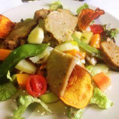 Salpicón de verduras con Seitán y chips de batata