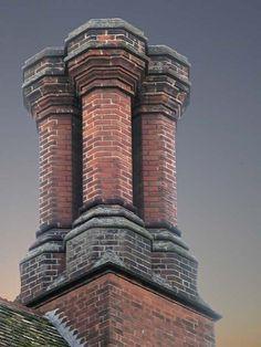 Chimney | Flickr - Photo Sharing! Brick Architecture, Vintage Architecture, Architecture Details, Brick Art, Brick And Wood, Chimney Cap, Chimney Sweep, Building Exterior, Brick Building