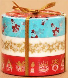 Christmas Washi Masking Tape deco tape set 3pcs turquoise