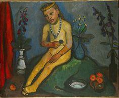 Paula Modersohn-Becker, Sitzender Mädchenakt mit Blumenvasen, um 1907, Öl auf Leinwand, 89 x 109 cm, Von der Heydt-Museum Wuppertal