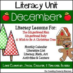 December Themed Literacy Unit for K-2nd, Special Education & Home Schoolers.  Literature: The Gingerbread Man, Gingerbread Baby & A Wish to Be a Christmas Tree.  Holiday activities include:  December Calendar & Writing Station Words; Literacy Worksheets, Art Projects; Classroom & Student Booklets; Gingerbread Real & Nonsense Words; Gingerbread Man Roll and Cover; Tree Make a Word Game; & Christmas Tree Number Match Game.   Kids have some holiday fun while learning!