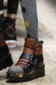 INSPIRATION & TAKE-AWAY: Prada Fall 2016 RTW The take-away is, a visually heavy, multi-colored leather boot.