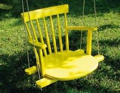Old Chair = Swing Kid's Swing What a fun color! This DIY porch swing used to be a rocking chair. The basic steps involved for making this swing are cutting the legs off, … Old Rocking Chairs, Old Chairs, Wooden Chairs, Porch Chairs, Mismatched Chairs, White Chairs, Vintage Chairs, Diy Outdoor Furniture, Diy Furniture
