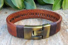 Personalized Hidden Message Bracelet, Engraved Mens Womens Custom Secret Message Inside Genuine Brown Leather Man Boyfriend Husband Son Gift by Braceletshomme on Etsy