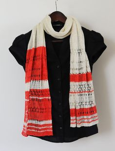 Knit Lace Shawl Stole Wrap Coral Lace Scarf Lace by SOVAknits
