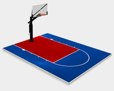 20x25-blue-red-lines Backyard Basketball, Basketball Hoop, Barber Chair For Sale, Blue Red Lines, Concrete Pad, Free Throw, Diy Kits, Square Feet, Tennis