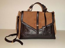 Tory Burch Luxury Brown Suede Black Leather w/ Gold Shoulder Bag Purse Tote
