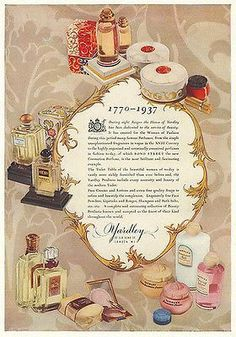 YARDLEY Perfumes AD Beauty Products 1937 Art Deco Illustration Bottle Packaging