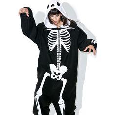 Adult Skeleton Onesie ($68) ❤ liked on Polyvore featuring intimates, sleepwear, long sleeve sleepwear, leg avenue and fleece sleepwear