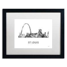 "Trademark Art ""Gateway Arch St Louis WB-BW"" by Marlene Watson Framed Graphic Art Size: 16"" H x 20"" W x 0.5"" D"