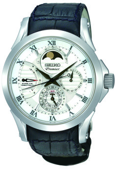 Seiko Premier, Kinetic Direct Drive Moon Phase Watch, With leather strap, SRX003