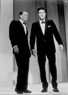 "Elvis Presley and Frank Sinatra on the Timex television special, ""Welcome Home Elvis,"" Presley's first television appearance after the army, 1960."