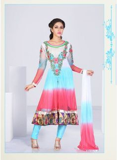Off-white and Aqua Blue #anarkali with beautiful keri work
