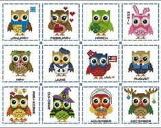 Hootie Love Owls is a collection of cross stitch owls in pink, chocolate brown and red. Perfect for samplers and other projects with love theme. Mini Cross Stitch Pattern: Hootie Love Owls Design Source: Cherry Clipart DMC Floss Colors: 14 Stitch Count: 150 x 124 (Each element abt 60 x 60) Approximate Finished Size on Recommended Fabric:* 14 count = 11 w x 9 h Inches   16 count = 9 w x 8 h Inches   18 count = 8 w x 7 h Inches   22 count = 7 w x 6 h Inches  *Pattern is in c...
