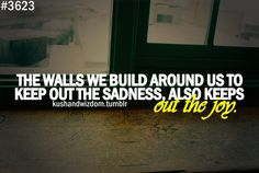 learn to let your walls come down. No one wants to be hurt but no one wants to be sad all the time because you keep the joy out. After the rain also comes SUNSHINE ! Me Quotes, It Hurts, Friendship, Relationships, Sunshine, Sad, Walls, Smile, Let It Be