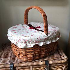 Floral Covered Picnic Basket