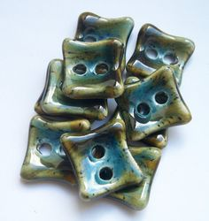 Earth and Sky Square Ceramic Buttons by buttonalia on Etsy, $20.00
