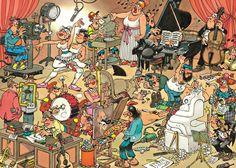 Jan Van Haasteren - The Artists Puzzle Drawing, Puzzle Art, Cartoon Art Styles, Cartoon Pics, Cartoon Picture, Cartoon Puzzle, The Artist, Comic Drawing, Tatty Teddy