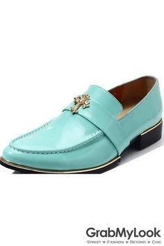 GrabMyLook Golden Cross Punk Rock Turquoise Mens Point Head Dress Oxford Shoes Loafers