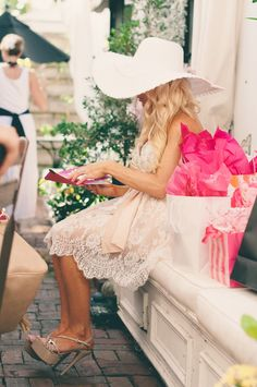 The Sweet Little Southern Charm by Tara Miller: My Bridal Shower Tea Party at Shoogie Boogies Tea Room Tea Party Attire, Tea Party Outfits, Bridal Outfits, Bridal Dresses, Party Clothes, Tea Party Dresses, Bridal Shower Bride Outfit, Tea Party Bridal Shower, Belle Bridal