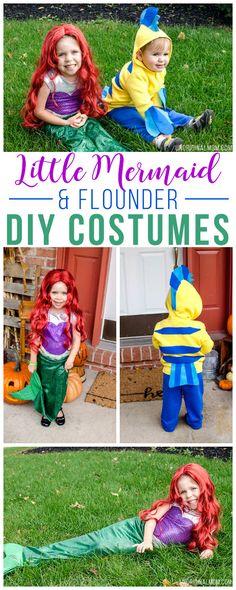 Toddler Mermaid Costumes, Little Mermaid Costumes, Mermaid Halloween Costumes, Ariel Costumes, Diy Dog Costumes, Hallowen Costume, Couple Halloween Costumes, The Little Mermaid, Costume Ideas