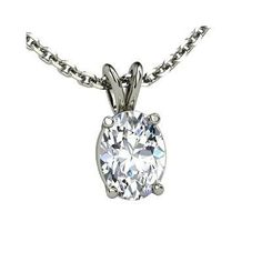 Oval Solitaire Pendant, Oval Diamond 14K White Gold Necklace