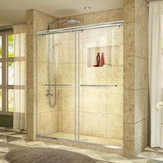 DreamLine Charisma 32 in. x 60 in. Semi-Frameless Sliding Shower Door in Chrome with Center Drain White - The Home Depot DreamLine Charisma 32 in. x 60 in. Semi-Frameless Sliding Shower Door in Chrome with Center Drain White - The Home Depot Frameless Sliding Shower Doors, Sliding Door, Shower Base, Walk In Shower, Glass Shower, Dreamline Shower, Tub To Shower Conversion, Shower Kits, Shower Ideas