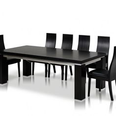 Impressive Modern Black Color Dining Table Interior Design Together Black Laminated Wooden Modern Dining Chair With Black Leather Seat Also Black White Varnished Wooden Dining Table With Black Laminated Wooden Countertop As Well As White Laminated Floor a part of  under Furniture
