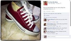 HUGE thanks to Suzanne Jackson for posting a pic of her sisters Stickcons masterpiece to her Facebook page! If you haven't checked out Suzanne's blog yet, have a look today! You'll never be stuck for style inspiration - amazing tips & pics!   WWW.SOSUEME.IE Get creative, Get your bling on, customise your sneakers with Stickcons Kits STICKCONS.COM Suzanne Jackson, Chuck Taylor Sneakers, About Me Blog, Sisters, Bling, Style Inspiration, Facebook, Twitter, Amazing