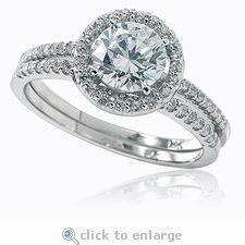 Ziamond 1 Carat Round CZ Halo Solitaire Wedding Set in 14k white gold.  The Tori wedding set features  micro pave set cubic zirconia for a delicate yet fancy design.  #ziamond #halo #wedding ring #bridal set #micro pave #solitaire #14k gold