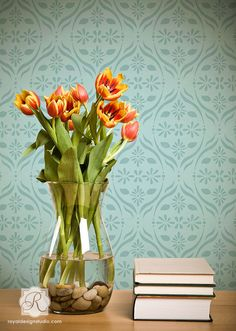 Chloe Floral Trellis Wall Stencil | Available in three sizes by Royal Design Studio
