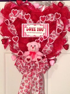 Love you to the moon and back deco mesh Valentine wreath.