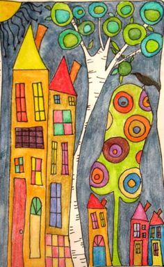 Gollywobbles: Inktense Watercolor pencils in my sketchbook (Screaming Mimis) Art Fantaisiste, Art Populaire, Pen And Watercolor, Watercolor Pencils, Watercolor Sketchbook, House Quilts, House Drawing, Naive Art, Art Journal Pages