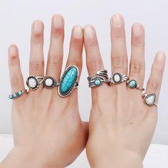 Set de 8 inele vintage, cu model geometric, cu pietre de opal, un set boem, antique, in culoarea argintului, de inele pentru incheieturile degetelor
