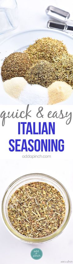 Italian Seasoning Mix Recipe - Italian Seasoning Mix makes a great seasoning mix to keep on hand in your pantry. A delicious savory addition to so many Italian dishes from spaghetti to lasagna or to sprinkle on chicken! It is an essential! // http://addapinch.com