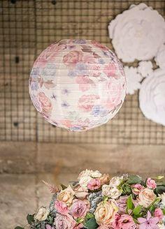 Vintage floral print paper lantern. Lovely wedding or bridal shower decor.